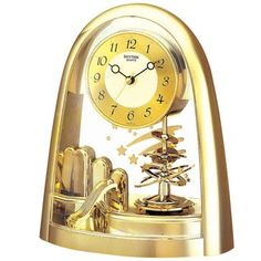 Rhythm 7607 9 Tischuhr Quarz Analog Mit Drehpendel Golden Wohnzimmer Uhr Kaufen