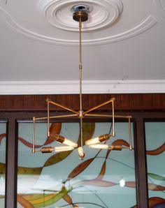 mid century 5 arms modern brass chandelier // brass patina edison light bulb brass chandelier - WHOLESALE PRICE by bluesky3786 on Etsy https://www.etsy.com/listing/232446716/mid-century-5-arms-modern-brass