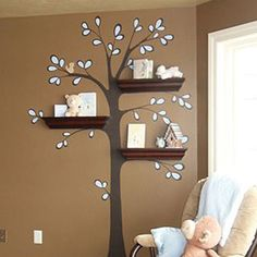 Nursery-Tree-Wall-Decal-sticker-for-use-with-wall-Shelf-for-Wall-Decoration