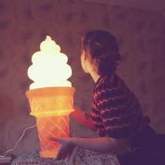 Glowing ice cream cone lamp | 10 Illuminating Kids Lights - Tinyme Blog