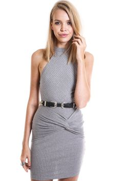 Grey High Neck Bodycon Midi Dress | USTrendy www.ustrendy.com #UsTrendy