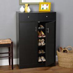 Seth Entryway Shoe Cabinet, Multiple Finishes, Black