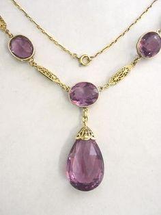 Amethyst Jewelry Set 14K Gold Vintage Necklace & Bracelet Matched Set Over 70cts
