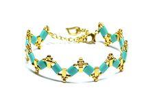Dámský tyrkysový náramek BRYXI ze skleněných korálků NA0592 | BRYXI shop.cz Bracelets, Gold, Jewelry, Fashion, Bangle Bracelets, Jewellery Making, Moda, Jewerly, Jewelery