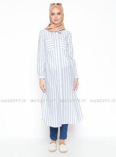 islamische kleidung fuer frauen mymodestystyle.com besuchen sie unsere shop #hijab #abayas #tuekische kleider #abendleider #islamischekleidung  Striped Tunic - Beige - Navy Blue - Almera - <p>Fabric Info:</p> <p>100% Linen</p> <br> <p>Weight: 0.22 kg</p> <p>Measures of 38 size:</p> <p>Height: 122 cm</p> <p>Bust: 94 cm</p> <p>Waist: 90 cm</p> <p>Skirt Width: 122 cm</p> - SKU: 224649. Buy now at http://muslimas-shop.com/striped-tunic-beige-navy-blue-almera-110723.html