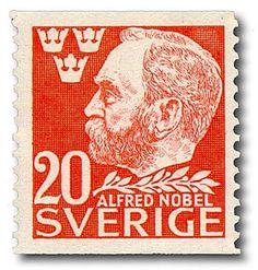 "Sweden ""Alfred Nobel"" Stamp from coil. Alfred Nobel, Poster Ads, Nobel Prize, Postage Stamps, Dahlia, Photo Art, Nostalgia, Retro, Danish"
