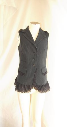DIY Up Cycled Vest Idea. Sew lace underneath. Could also make a cute blazer.