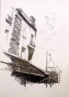 #Montmartre #París. Dibujo hecho a estilógrafo.