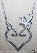 Browning Buckmark Silver Buck Heart Pendant Necklace Buck and Doe