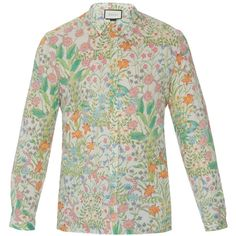Gucci New Flora print cotton shirt ($439) ❤ liked on Polyvore featuring men's fashion, men's clothing, men's shirts, men's casual shirts, gucci, multi, mens cotton shirts, mens cream dress shirt, mens slim fit casual shirts and mens patterned shirts