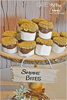 Woodland Themed Party Food Ideas - Smores Bites www.spaceshipsandlaserbeams.com