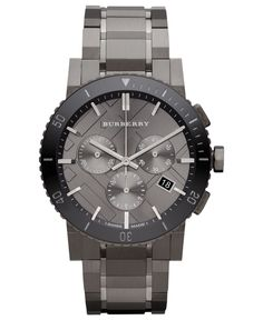 Burberry Watch, Swiss Chronograph Gray Ion Plated Stainless Steel Bracelet 42mm BU9381