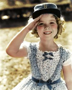 Shirley Temple on the set of The Littlest Rebel, 1935. Colourized by Miss Shirley Temple, Tumblr.