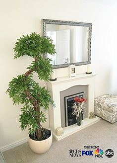 Premium Best Quality Faux Japanese Fruticosa Tree Artificial Plants and Trees Handmade Using Real Bark  Synthetic Leaves Indoor Plant  Approx 165cm Tall -- Click image for more details.