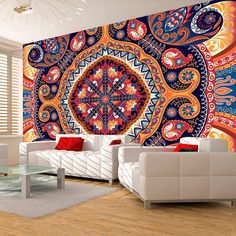 """Add some classy chic bohemian style with this large wallpaper mural """" Exotic mosaic """" transform your Room into something fabulous! This wallpaper mural will give off the wow factor in any room or workplace."""