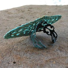 filigree ring BAROQUE verdigris patina adjustable by lluviadesigns, $14.00