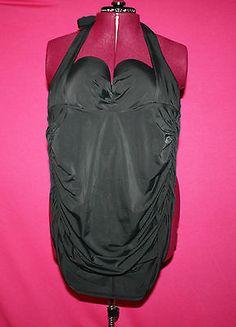 Lane Bryant Black Halter Retro Maillot Slimming Once Piece Bombshell Size 20 | eBay