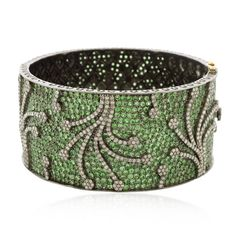 Tsavorite Diamond Gold Bangle Bracelet