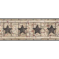 "York Wallcoverings Country Keepsakes Country Cutout Star 15' x 9"" Wood Border Wallpaper Color: Beige, Tan, Black, Red, Brown"
