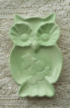 Mint Green Owl Soap Dish Spoon Rest Trinket by Angelheartdesigns