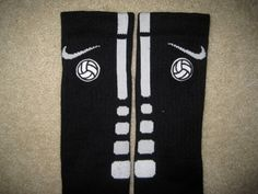 SPORTS VOLLEYBALL Custom Nike Elite Socks Black w/ White Stripe L (8-12 ) I Want This! >>>>