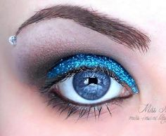 Blue sparkly eye shadow - makeup