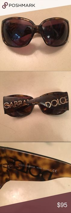 LAST CHANCE DOLCE/GABANNA /gold logo sunglasses Perfect condition. No scratches or signs of wear; may even be brand new. Tortoise frames with brown lenses. Signature large Dolce and Gabbana logo. Authentic. Dolce & Gabbana Accessories Sunglasses