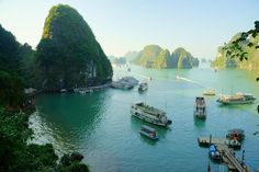Karst rock formations at Ha Long Bay, Vietnam. We've compiled this list of the 10 best UNESCO sites in Asia. Visit Vietnam, Vietnam Tours, Vietnam Travel, Asia Travel, Hanoi Vietnam, Travel Tourism, Travel Agency, Puerto Princesa, Cheap Places To Travel