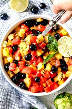 Watermelon Pineapple Summer Salad with Honey Lime Mint Dressing (Carlsbad Cravings) Dressing For Fruit Salad, Best Fruit Salad, Summer Salads With Fruit, Salad Dressing Recipes, Salad Recipes, Healthy Recipes, Fruit Salads, Salad Dressings, Easy Recipes