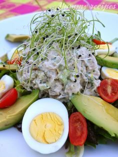 Tuna Salad with Avocado, Sprouts & Hard Boiled Eggs