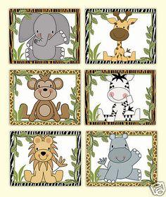 Safari animal impressões de arte da parede selva Menino Zoo Decoração De Quarto De Bebê Childrens presente do chuveiro