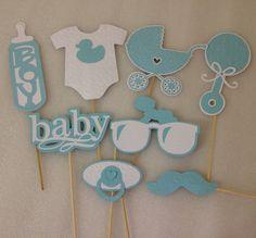 BABY PHOTOBOOTH PROPS - Set of 8 elegantly embossed baby boy photo props- baby boy shower- it's a boy by FrangipaperTree on Etsy https://www.etsy.com/listing/228225790/baby-photobooth-props-set-of-8-elegantly