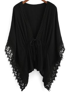 Shop Black V Neck Batwing Lace Kimono online. SheIn offers Black V Neck Batwing Lace Kimono & more to fit your fashionable needs.