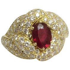 Boucheron Oval Ruby Diamond Gold Ring