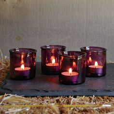 West Elm - Recycled-Glass Votive Holders - purple <3