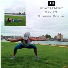 #SweatADay #Day23: Surfer Pop Up. @Tracy Stewart Stewart Putnam @Joanne Hunter Matthews Armour @underarmouraust This full body killer always catches me off guard. It doesn't look like much, but it is! Seems to be the theme this week huh?! You guys are killin it though!