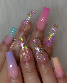 In search for some nail designs and ideas for your nails? Listed here is our listing of must-try coffin acrylic nails for cool women. Summer Acrylic Nails, Best Acrylic Nails, Summer Nails, Acrylic Nails Glitter, Pretty Nails For Summer, Nagellack Design, Cute Acrylic Nail Designs, Clear Nail Designs, Bright Nail Designs