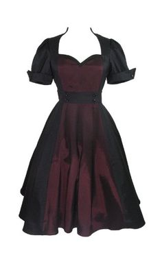 Fashion Bug Plus Size Vintage 60s Queen of Hearts Two Tone Black and Burgundy Satin Dress www.fashionbug.us #PlusSize #FashionBug #Vintage #Rockabilly #PinUp