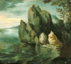 Seascape with a High Cliff, Jan Brueghel the Elder, about 1591