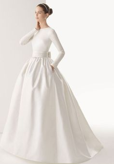 Like Natural Waist Ball Gown Elastic High Neck Wedding Dress