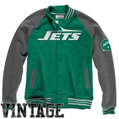 When the weather cools down, pull out your Mitchell & Ness green and gray button-up jacket. LOVE the retro Jets look.