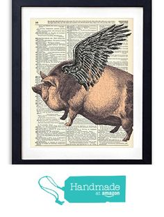 Flying Pig Upcycled Vintage Dictionary Art Print 8x10 from Vintage Book Art Co. https://www.amazon.com/dp/B01AVKNMKS/ref=hnd_sw_r_pi_dp_3LMdybHTTCVFG #handmadeatamazon