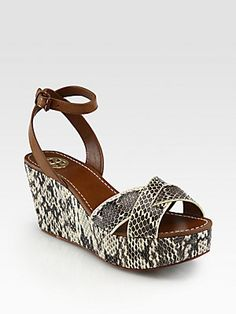 Tory Burch Cathleen Snakeskin & Leather Wedge Sandals - on sale at Saks $245