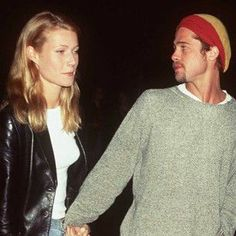 Paltrow and Pitt. Vintage. 90's. White tees.