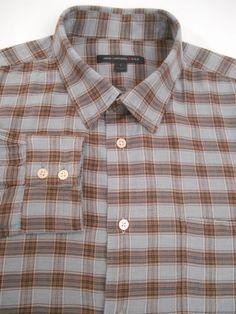 JOHN VARVATOS Men's Brown Gray Plaid Size L Cotton Blend Long Sleeve Shirt #JohnVarvatos #ButtonFront