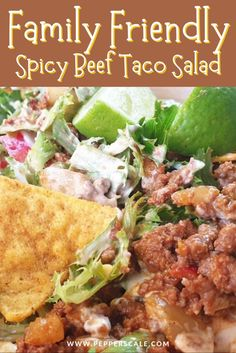 Taco salad is the perfect candidate for a sharing platter between family or friends. If that jalapeño heat is of any concern for family sharing, you can control it very easily. You can, instead, serve them on the side of the meal. #tacosalad #tacosalarecipe #tacosaladrecipehealthy #spicybeef #beeftacosaladrecipe #beeftacosaladtortillachips Chipotle Recipes, Best Beef Recipes, Meat Recipes, Mexican Food Recipes, Ethnic Recipes, Dinner Recipes, Beef Taco Salad Recipe, Easy Salad Recipes, Easy Salads