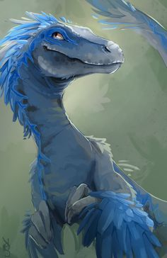 """The Raptor's Den taigordonart: """"Updated Blue! I clothed her for this last convention. She was indecent without her feathers. Mythical Creatures Art, Prehistoric Creatures, Fantasy Creatures, Dinosaur Drawing, Dinosaur Art, Dinosaur Crafts, Blue Jurassic World, Feathered Dinosaurs, Jurassic Park"""