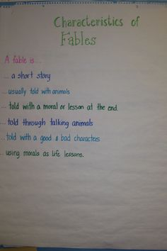 Characteristics of Fables