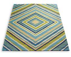 Grandin Road blue green tan white diamonds modern outdoor rug via Room Fu - Knockout Interiors