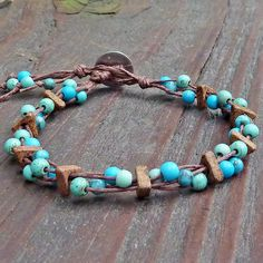 Turquoise Mosaic Bracelet - Turquoise Beads, Magnesite Beads, Brown Hemp, Multi Strand Bracelet. $14.00, via Etsy.